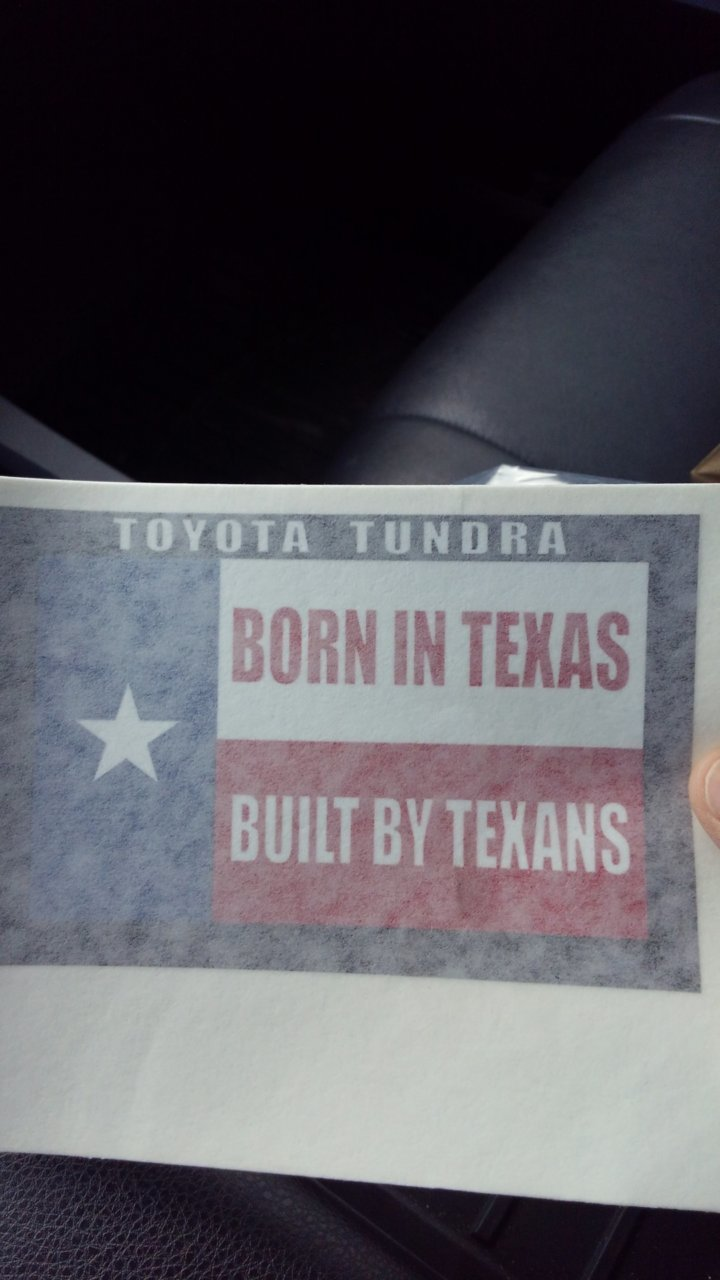 Toyota Tundra Decal Born in texas built by texans sticker