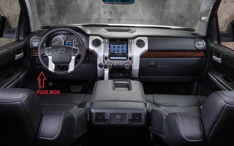 interior fuse box location and information toyota tundra forum fuse box location the fuse box is located under the drives side footwell area you will have to get on your back on the floor and look up no need to remove any dash