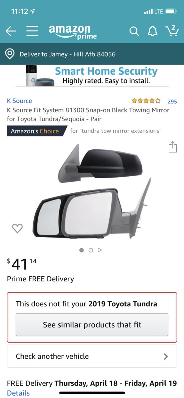 Lower Flat Towing Mirror Glass Replace for 07-19 Toyota Tundra Passenger Side