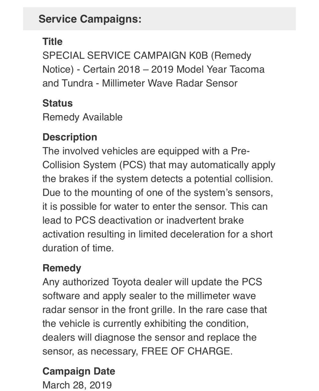 2018/2019 Tacoma/Tundra recall? | Toyota Tundra Forum