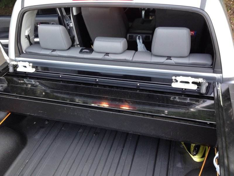 Tacoma Tonneau Cover >> Retractable tonneau cover with bicycle fork mounts attached to canister. | Toyota Tundra Forum