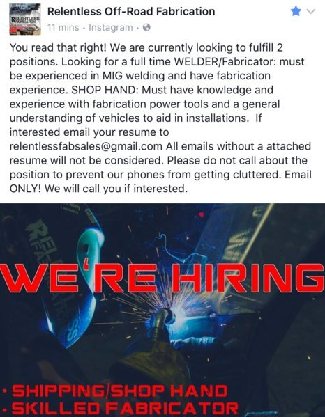 Relentless Off-Road Fabrication now hiring!! | Toyota Tundra