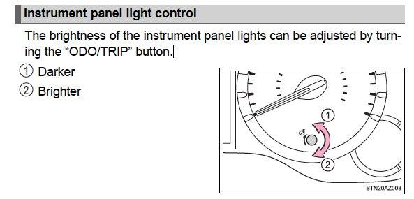 2016 toyota corolla dash lights dimmer