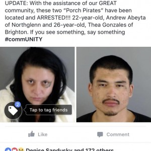 I moderate a very active neighborhood watch page. Last week, we posted regarding a porch pirate. I received a tip from one of our members, and I conta