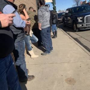 In line for the 4 year anniversary beer release