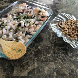 Home made Ceviche Peruvian corn nuts cooked :notsure: Chicken and rice cooking